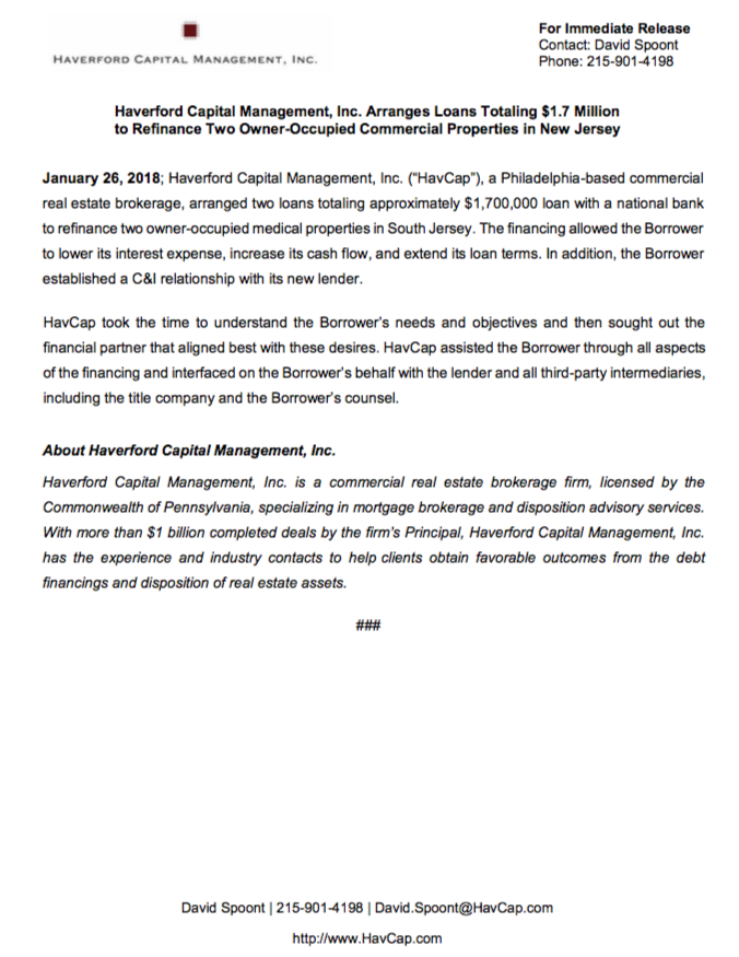$1.7 Million Refinancing - Press Release SS