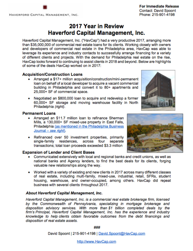 Haverford Capital Management, Inc. - 2017 Year in Review SS