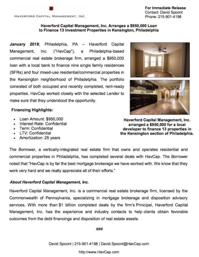 SFR Financing - Press Release SS