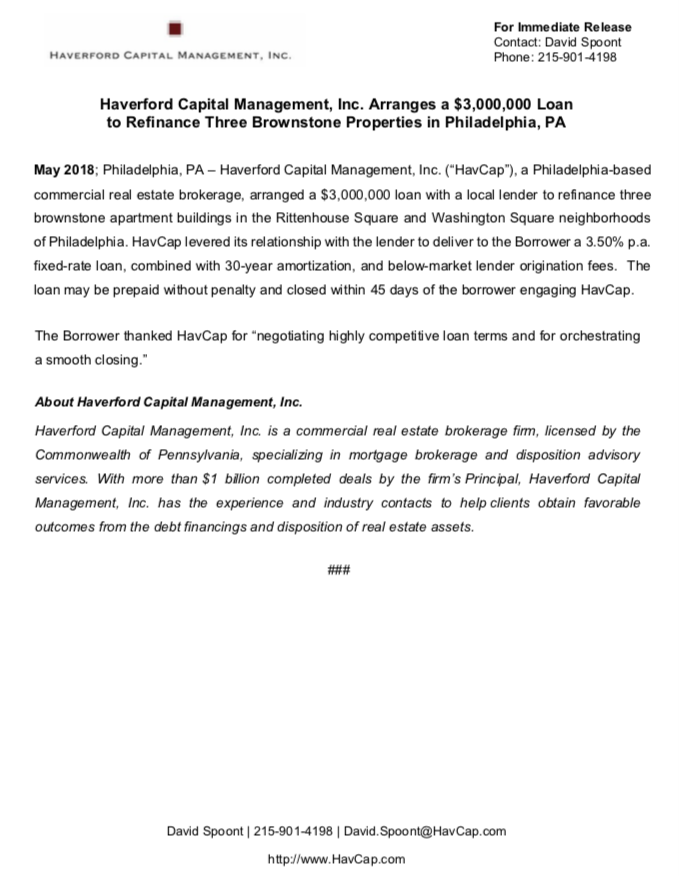 HavCap - $3,000,000 Brownstone Loan - Press Release