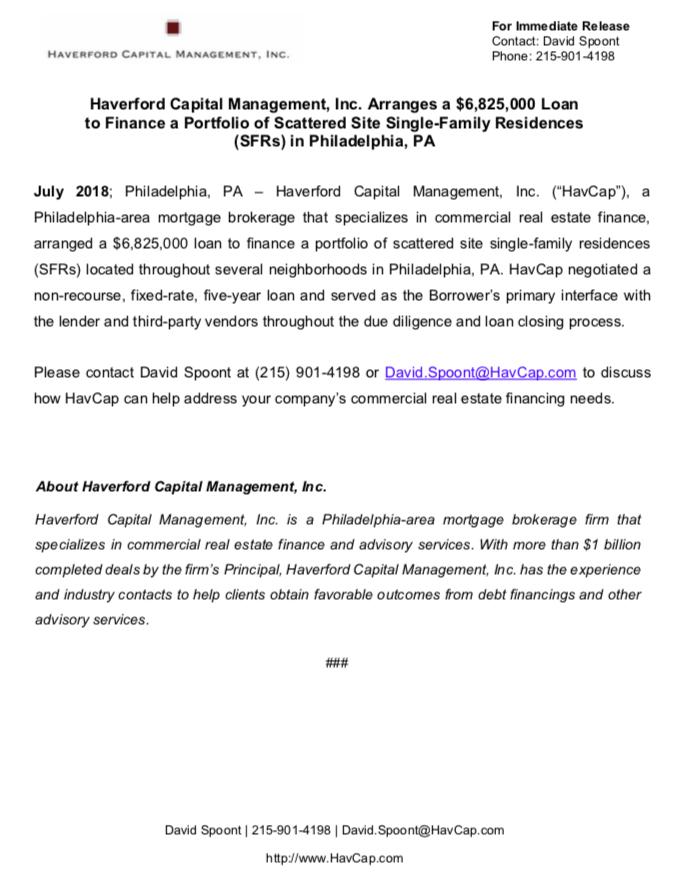 HavCap - $6,825,000 Financing - Press Release