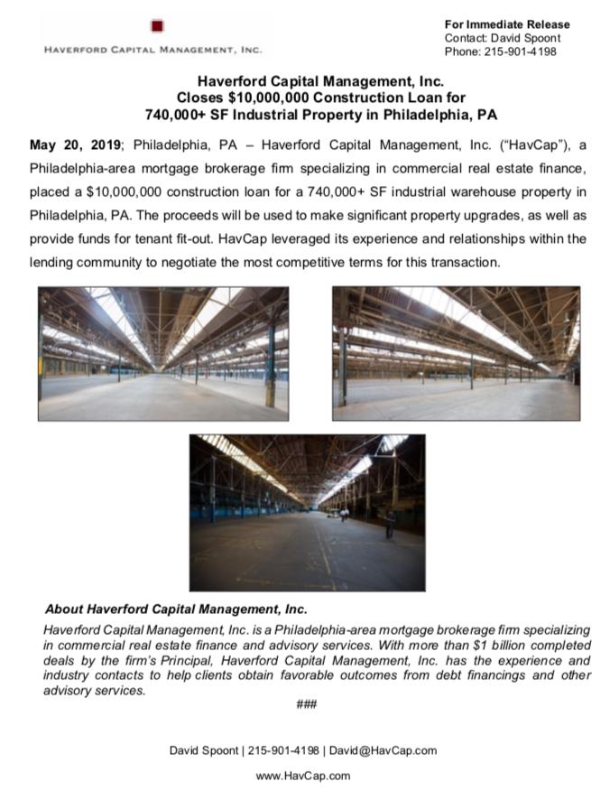 HavCap - $10,000,000 Construction Loan in Philadelphia - Press Release 5.20.19.png