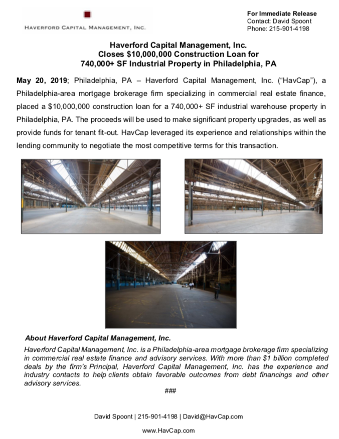 HavCap - $10,000,000 Construction Loan in Philadelphia - Press Release 5.20.19.png