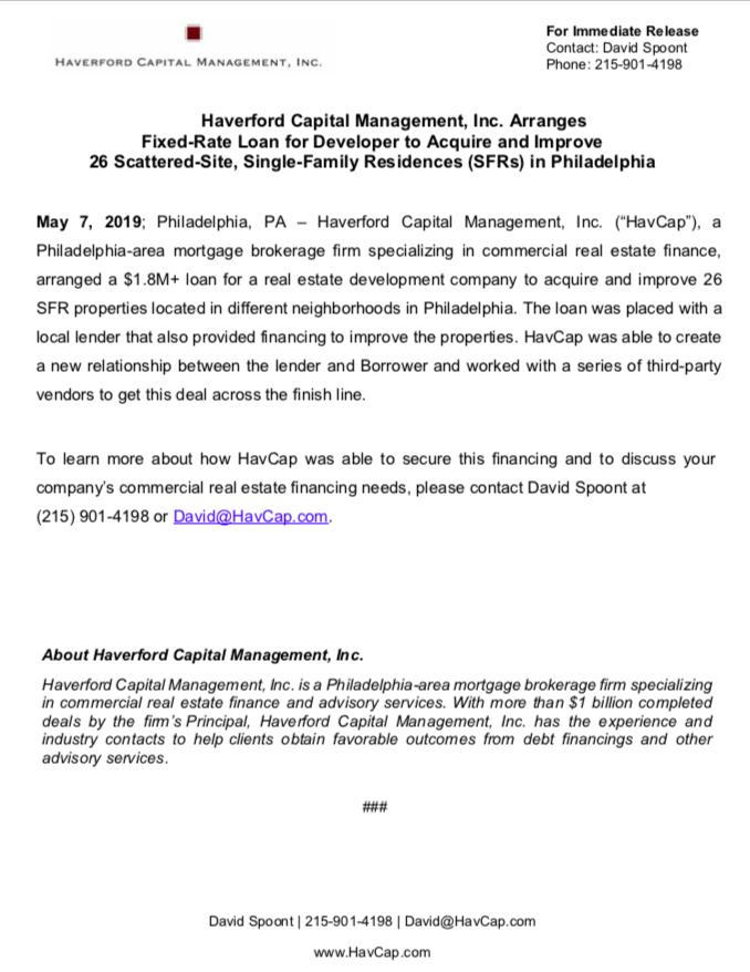 HavCap - 26 Property Acquisition in Philadelphia