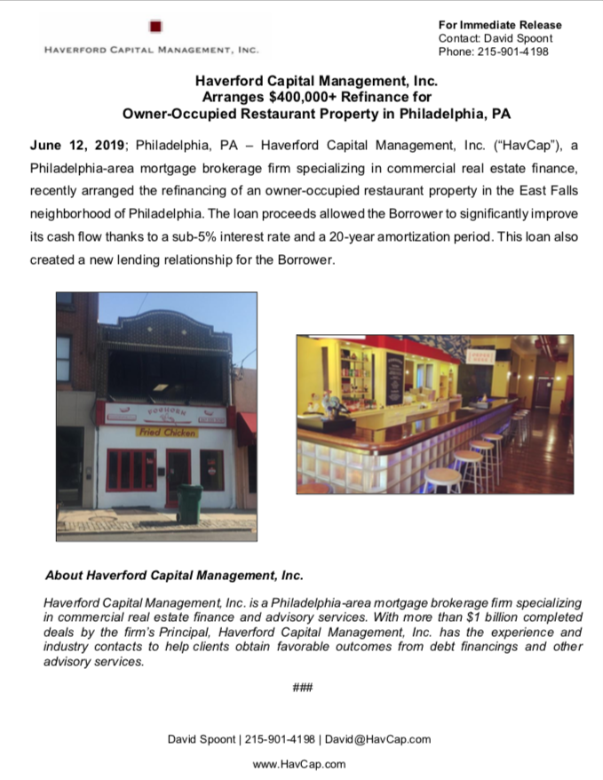 HavCap - $400,000+ Owner-Occupied Refinance in Philadelphia - Press Release