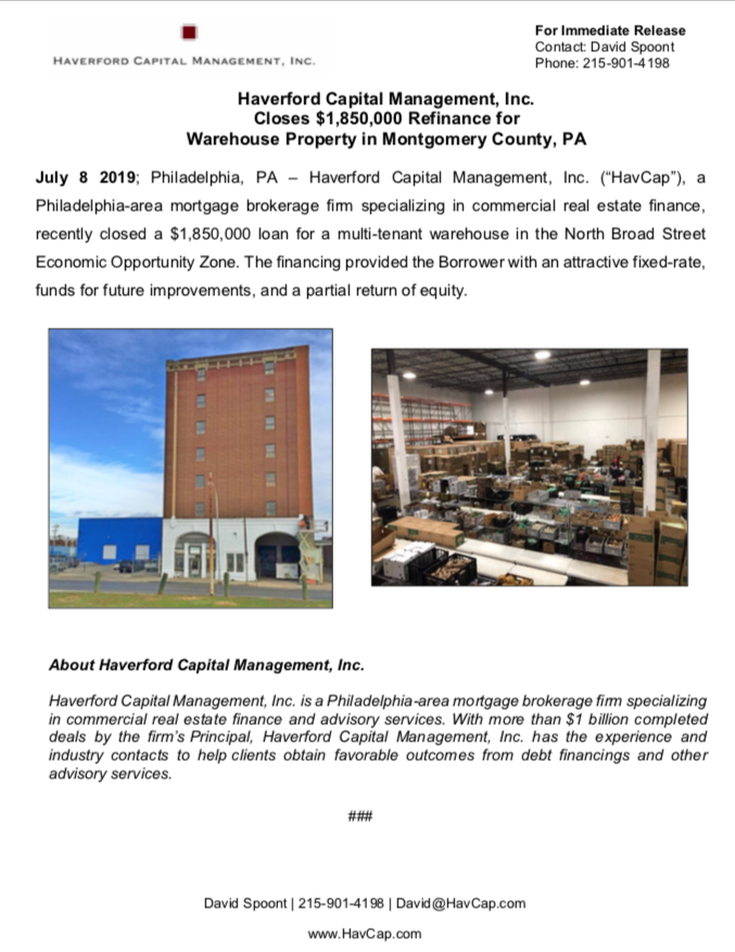 HavCap - $1,850,000 Refinance of Mixed-Use Property - Press Release 7.8.19
