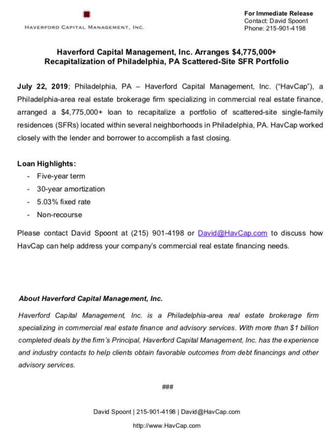 HavCap - $4,775,000+ SFR Financing - Press Release 7.22.19