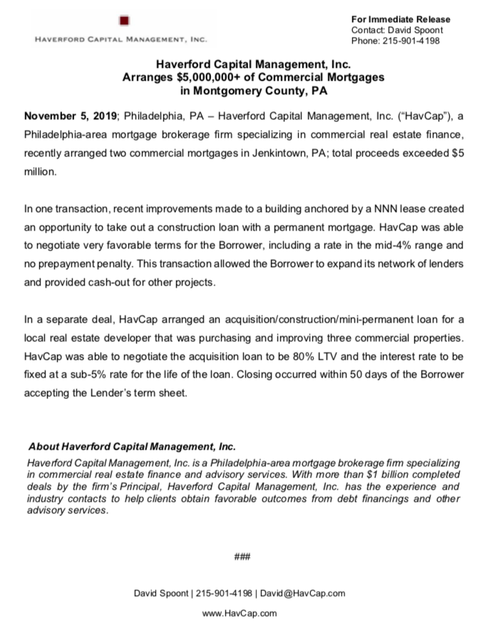 HavCap - $5,000,000+ of Commercial Mortgages in Montgomery County - Press Release 11.5.19.png