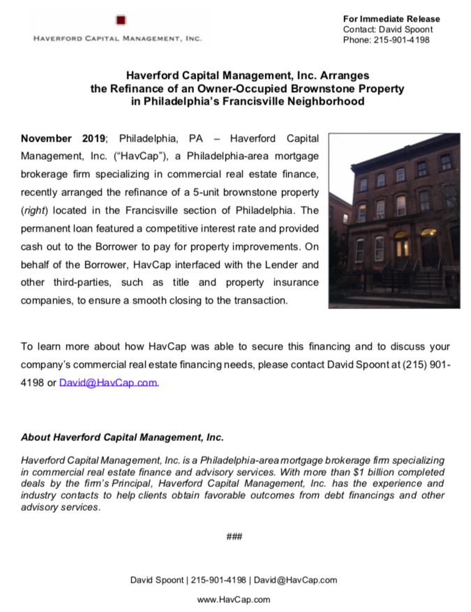 HavCap - Brownstone Refinance in Francisville - Press Release