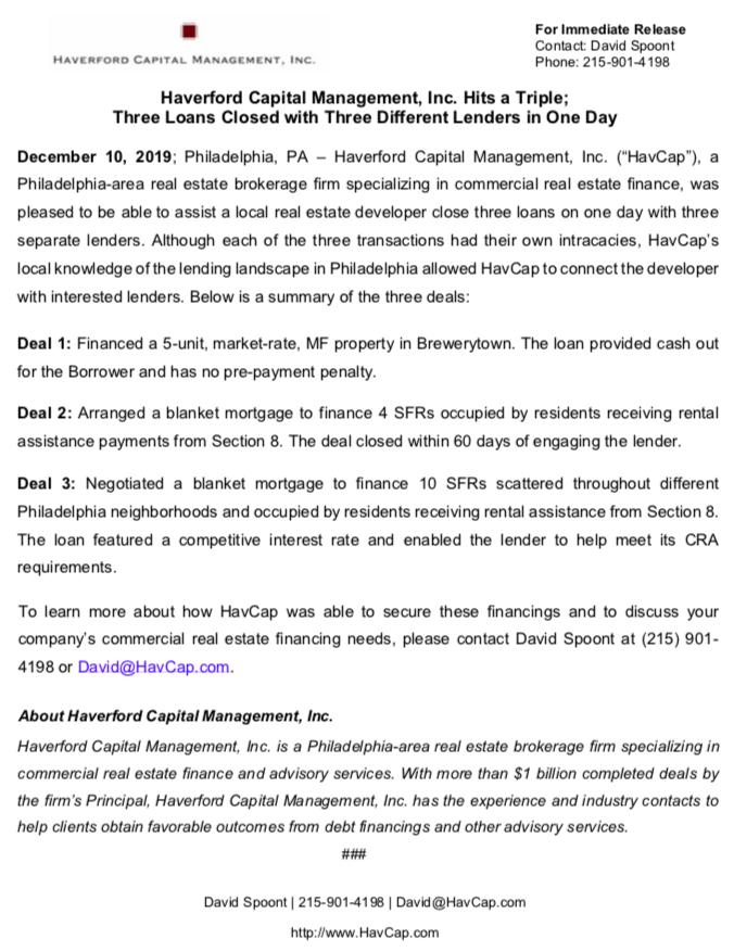 HavCap - HavCap Hits a Triple - Press Release 12.10.19.png