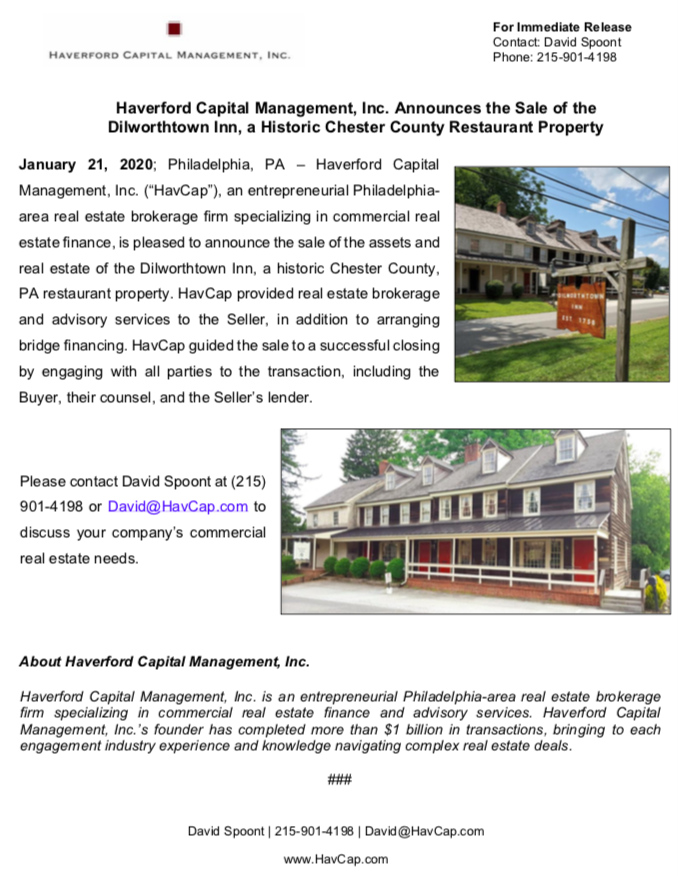 HavCap - Dilworthtown Inn - Press Release 1.21.20