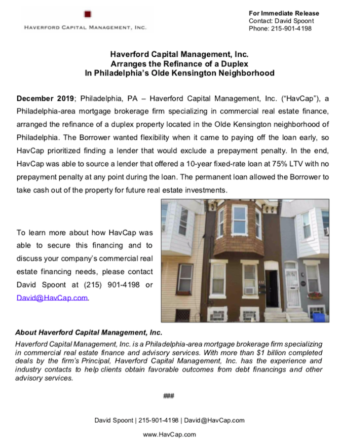 HavCap - Refinance of Duplex - Press Release 12.20.19