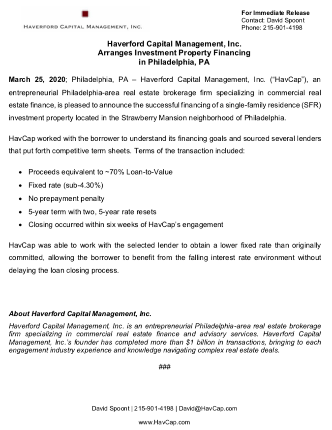HavCap - Strawberry Mansion Financing - Press Release 3.25.20.png