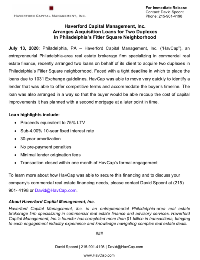 HavCap - Acquisition Loans for two Duplexes in Fitler Square - Press Release 7.13.20