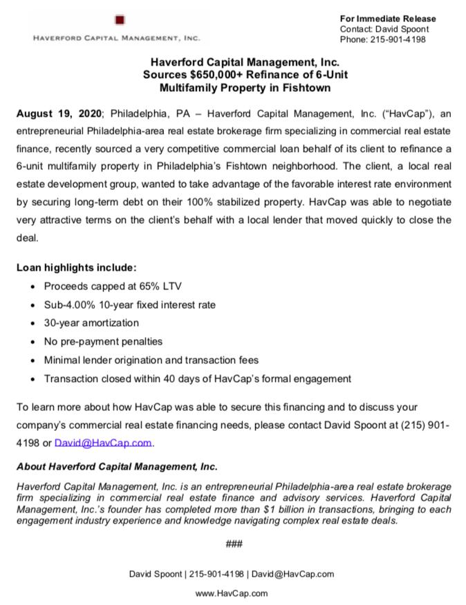 HavCap - Refinance of 6-Unit Property in Fishtown - Press Release 8.19.20