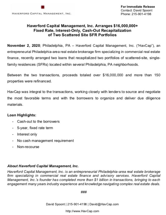 HavCap - $16,000,000+ SFR Financings - Press Release 11.2.20