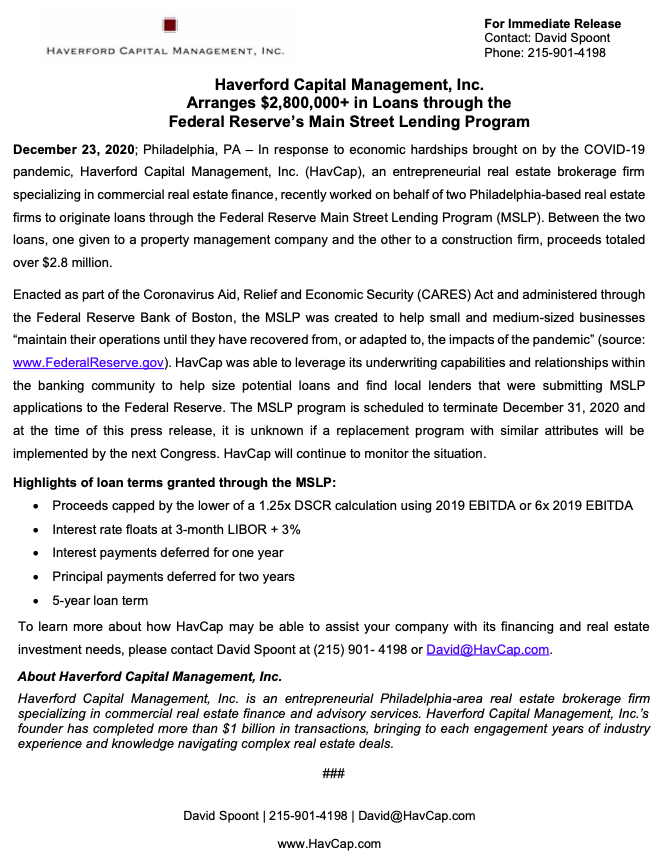HavCap - Main Street Lending Program - Press Release 12.23.20